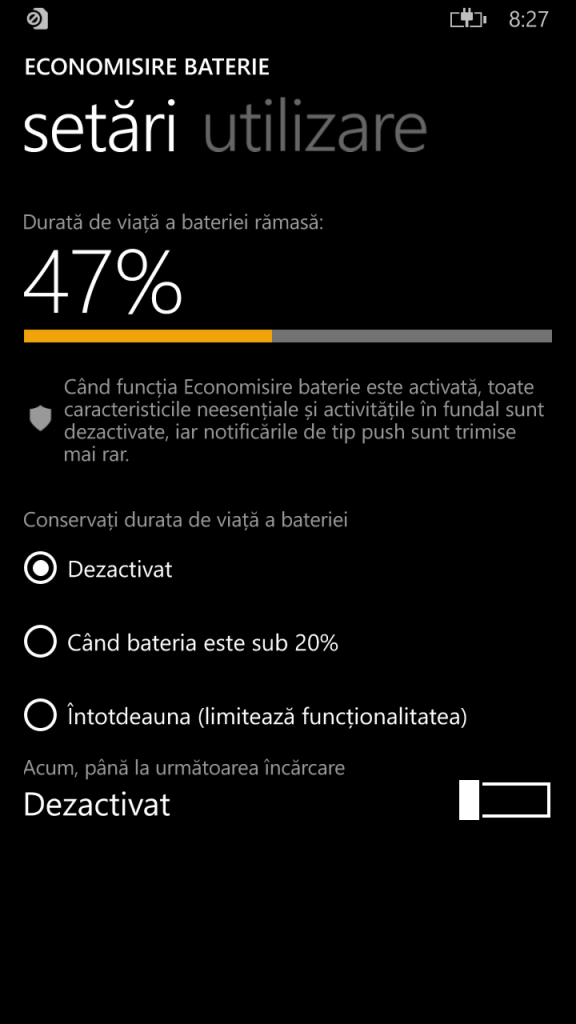 10.Poza Lumia 830  economisire baterie