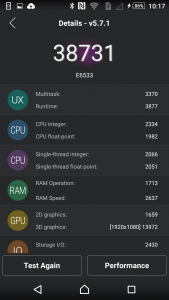 6.Poza Sony Xperia Z3+ test scor