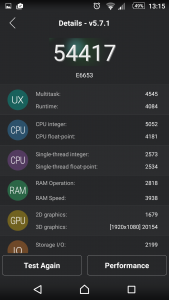 7.Poza XPERIA Z5 Test scor