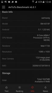 14.Poza Samsung Galaxy A5(2016) Antutu v3